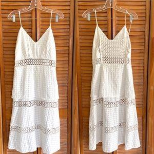 Cris Barros Brazil White Square Eyelet Midi Dress